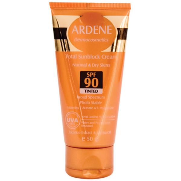 کرم ضد آفتاب SPF 90 آردن رنگی برای پوستهای خشک و معمولی